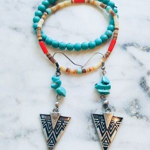 Turquoise Earrings Bracelet Set